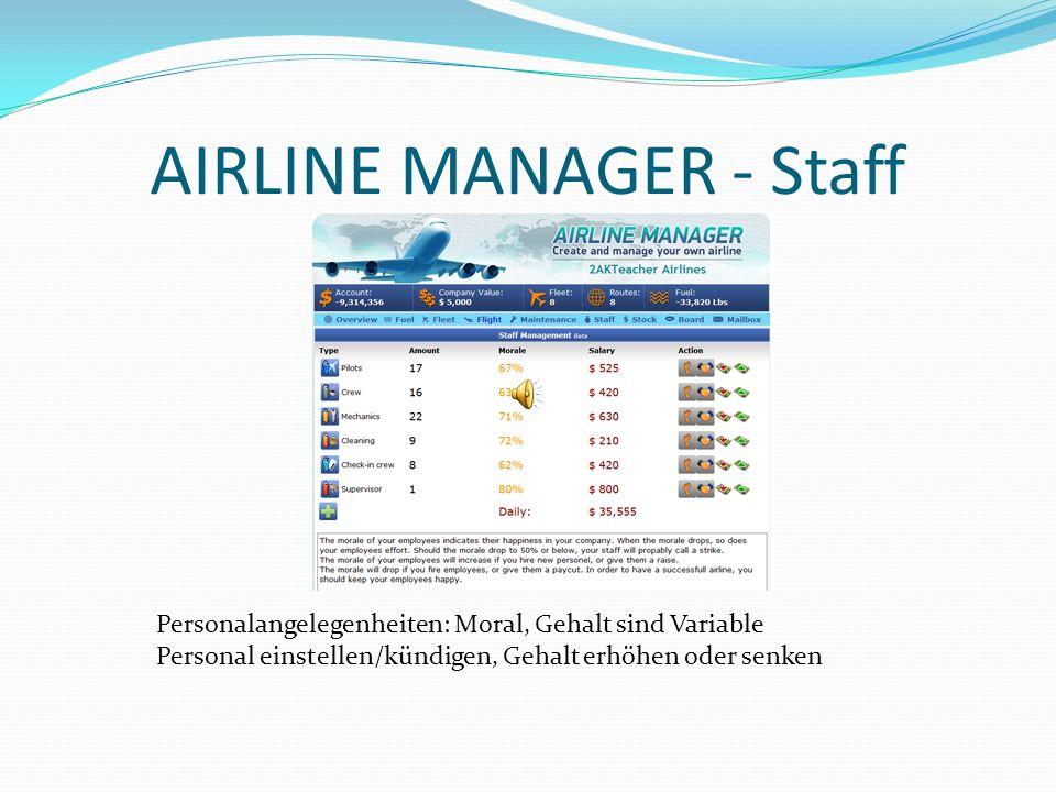 AIRLINE MANAGER - Staff Personalangelegenheiten: Moral, Gehalt sind Variable Personal einstellen/kündigen, Gehalt erhöhen oder senken