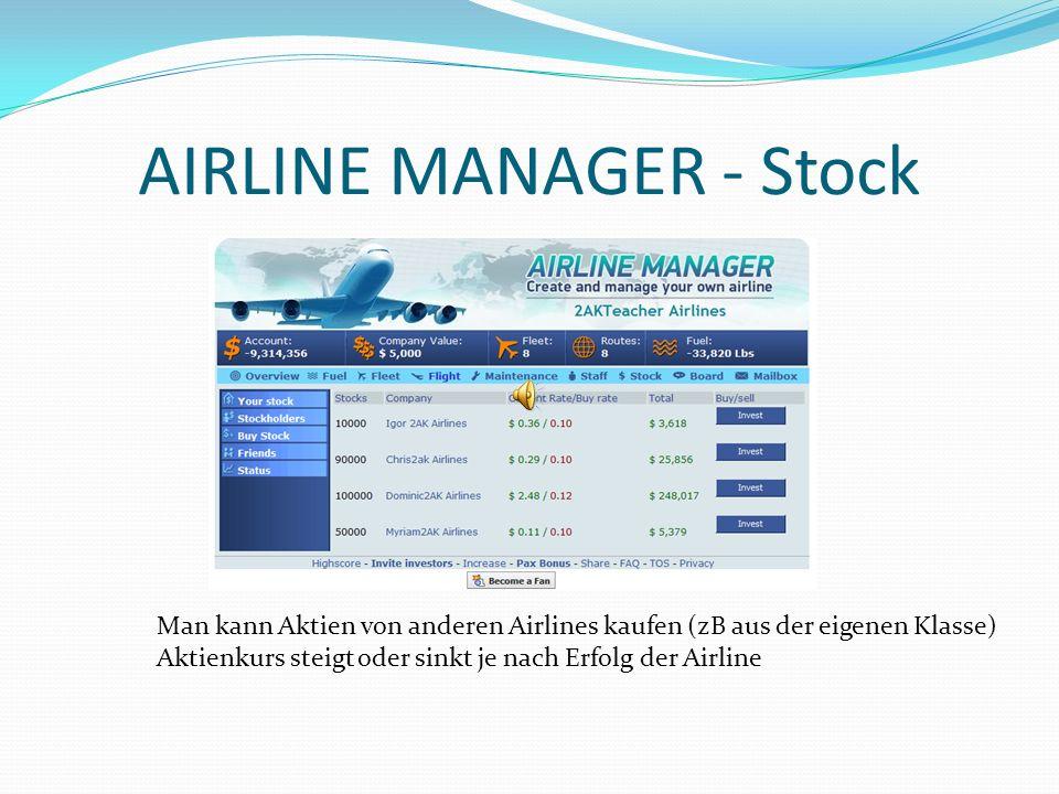 AIRLINE MANAGER - Stock Man kann Aktien von anderen Airlines kaufen (zB aus der eigenen Klasse) Aktienkurs steigt oder sinkt je nach Erfolg der Airlin