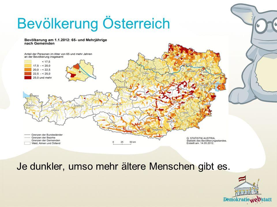 Bevölkerung Österreich Je dunkler, umso mehr ältere Menschen gibt es.