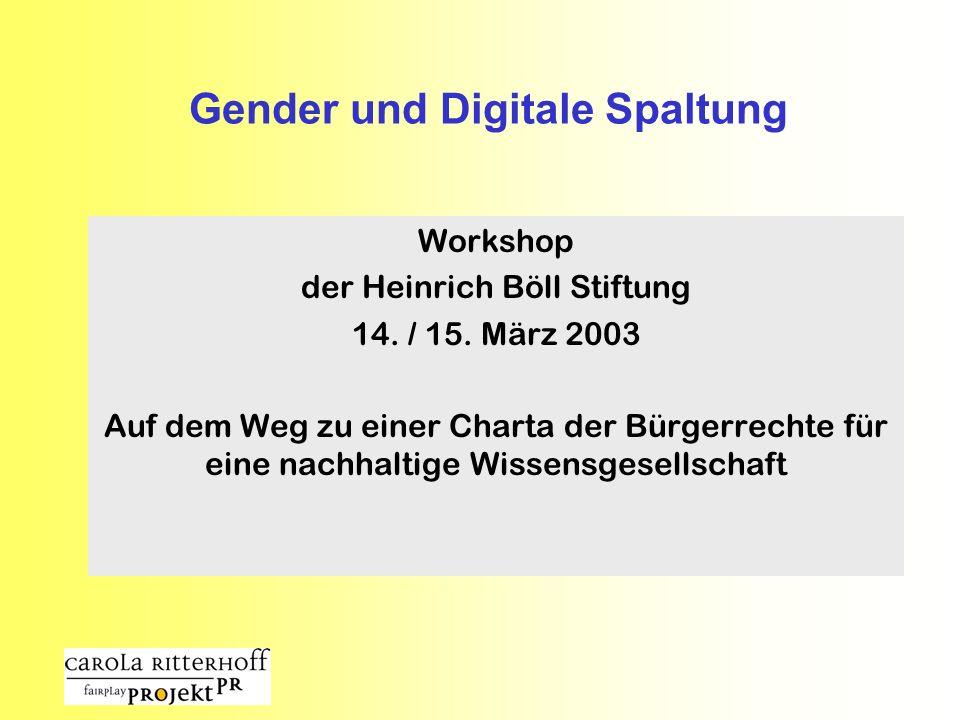 Gender und Digitale Spaltung Workshop der Heinrich Böll Stiftung 14. / 15. März 2003 Auf dem Weg zu einer Charta der Bürgerrechte für eine nachhaltige