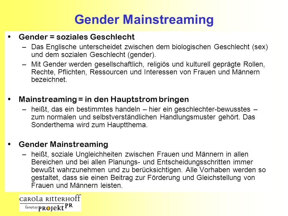 Gender Mainstreaming Gender = soziales Geschlecht –Das Englische unterscheidet zwischen dem biologischen Geschlecht (sex) und dem sozialen Geschlecht