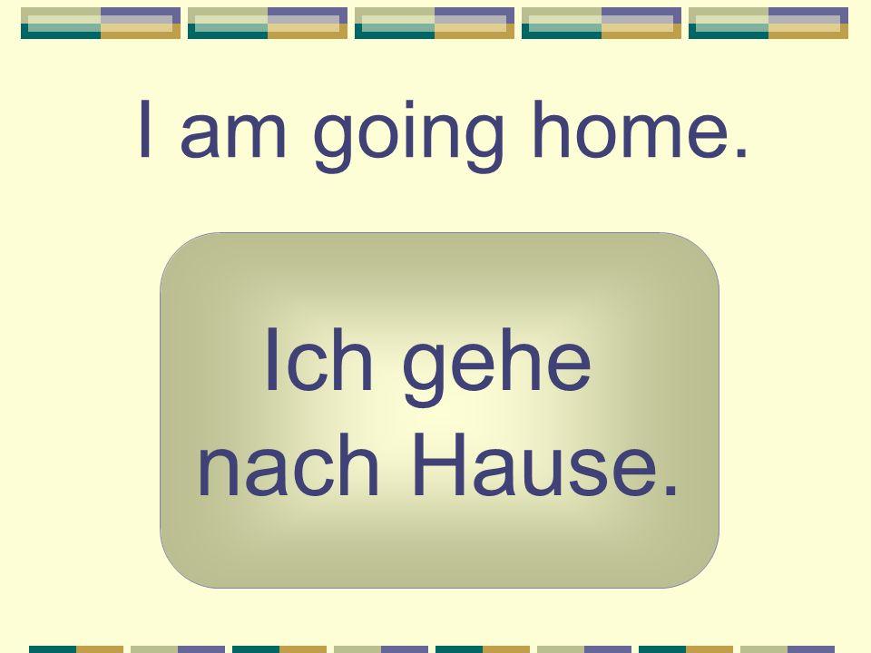 I am going home. Ich gehe nach Hause.
