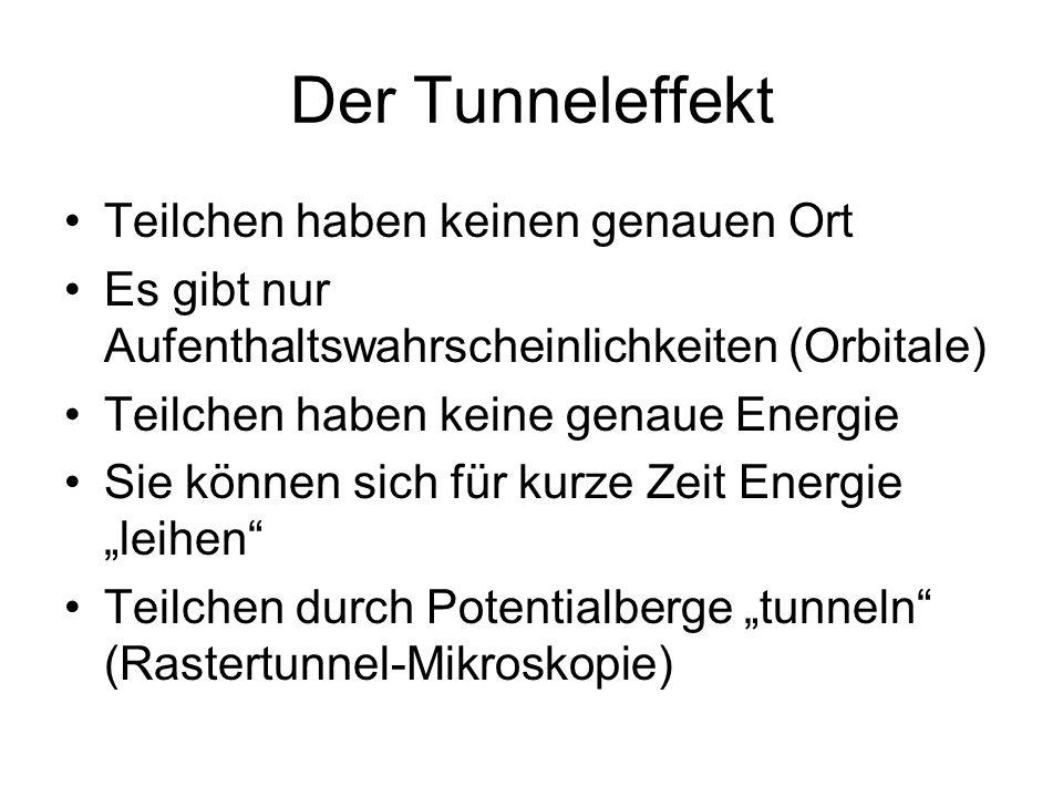 Der Tunneleffekt Teilchen haben keinen genauen Ort Es gibt nur Aufenthaltswahrscheinlichkeiten (Orbitale) Teilchen haben keine genaue Energie Sie könn