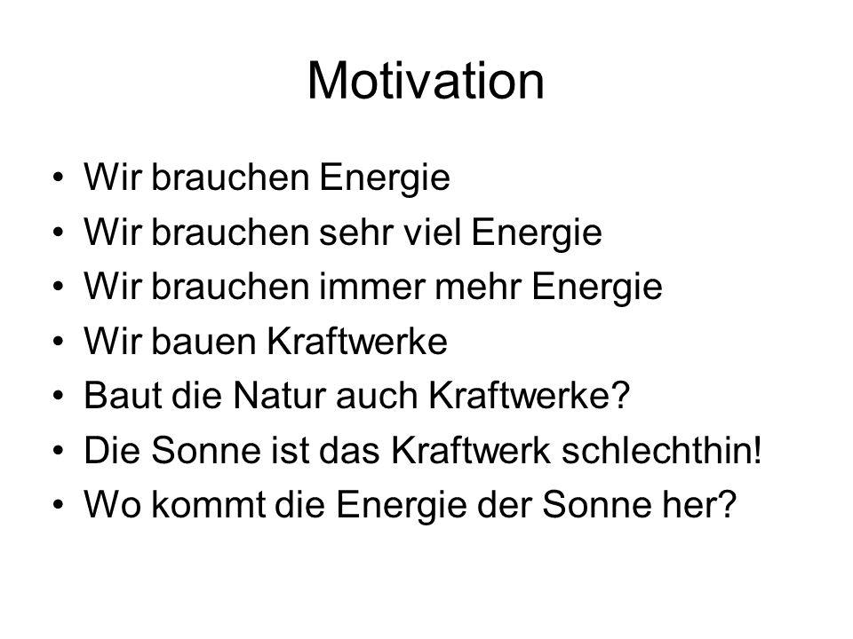 Motivation Wir brauchen Energie Wir brauchen sehr viel Energie Wir brauchen immer mehr Energie Wir bauen Kraftwerke Baut die Natur auch Kraftwerke? Di