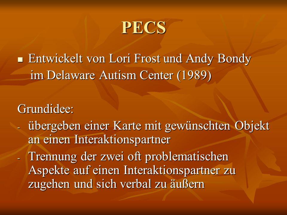 PECS Entwickelt von Lori Frost und Andy Bondy Entwickelt von Lori Frost und Andy Bondy im Delaware Autism Center (1989) im Delaware Autism Center (198
