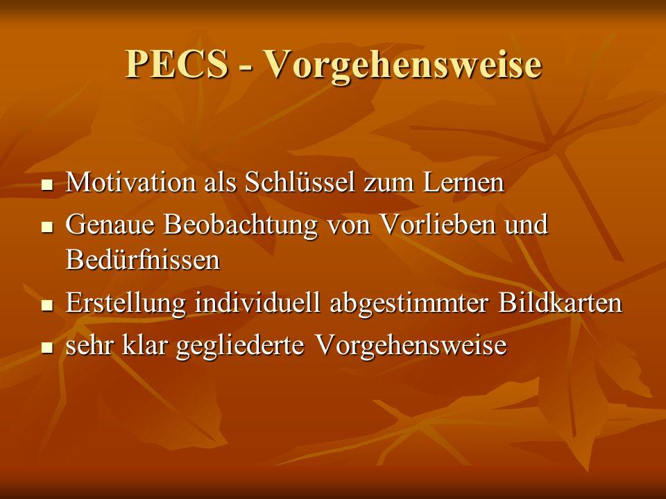 PECS - Vorgehensweise Motivation als Schlüssel zum Lernen Motivation als Schlüssel zum Lernen Genaue Beobachtung von Vorlieben und Bedürfnissen Genaue