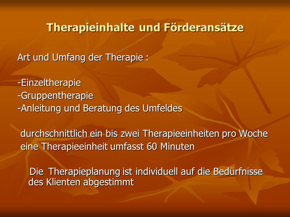 Therapieinhalte und Förderansätze Art und Umfang der Therapie : -Einzeltherapie-Gruppentherapie -Anleitung und Beratung des Umfeldes durchschnittlich