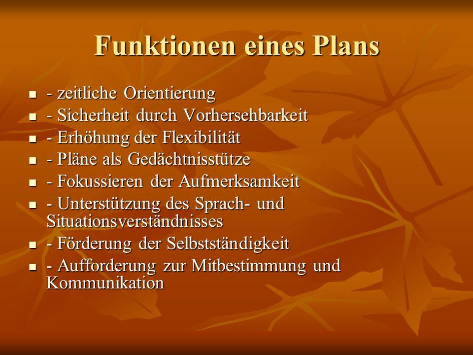 Funktionen eines Plans - zeitliche Orientierung - zeitliche Orientierung - Sicherheit durch Vorhersehbarkeit - Sicherheit durch Vorhersehbarkeit - Erh
