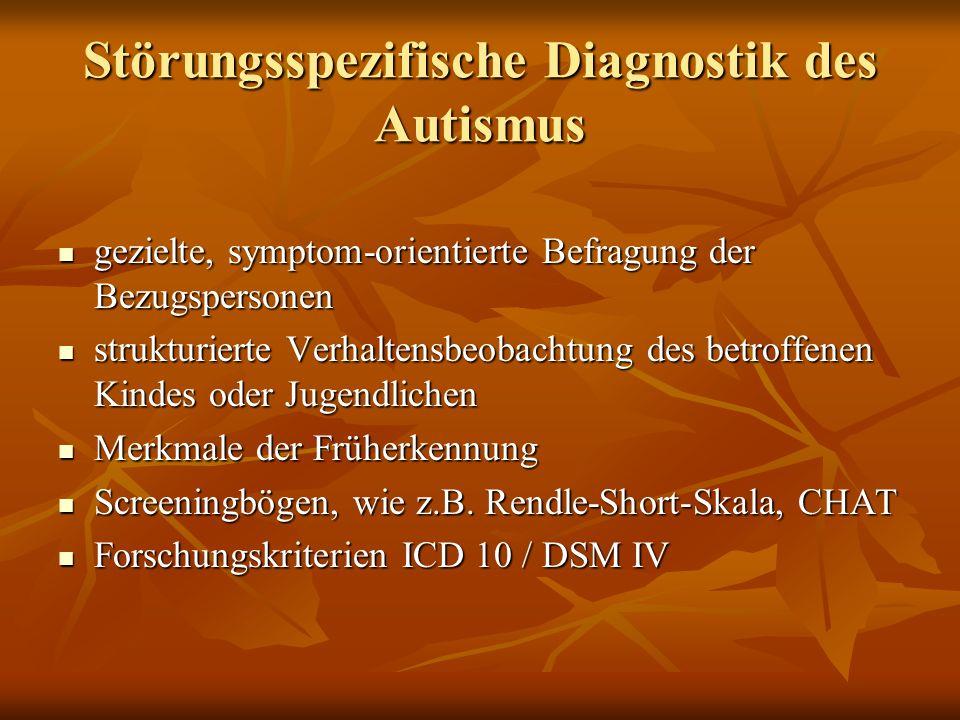 Störungsspezifische Diagnostik des Autismus ADI-R Autism Diagnostic Interview ADI-R Autism Diagnostic Interview halbstandardisiertes Interview mit der Bezugsperson (Poustka, Bölte et al.) halbstandardisiertes Interview mit der Bezugsperson (Poustka, Bölte et al.) ADOS-G Autism Diagnostic Observation Scale (Poustka, Bölte et al.) ADOS-G Autism Diagnostic Observation Scale (Poustka, Bölte et al.) Protokoll zur Beobachtung vorgegebener Situationen Protokoll zur Beobachtung vorgegebener Situationen FSK Fragebogen über Verhalten und soziale Kommunikation (Rutter et al.) FSK Fragebogen über Verhalten und soziale Kommunikation (Rutter et al.) Andere Verfahren : CARS, PEP, AAPEP, CHAT Andere Verfahren : CARS, PEP, AAPEP, CHAT