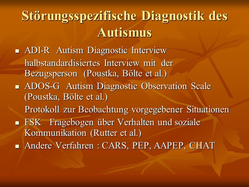 Häufigkeiten der autistischen Spektrumstörungen für alle autistischen Spektrumstörungen für alle autistischen Spektrumstörungen 6-7 pro 1000 6-7 pro 1000 Jungen sind 3-4 mal häufiger betroffen als Mädchen Jungen sind 3-4 mal häufiger betroffen als Mädchen