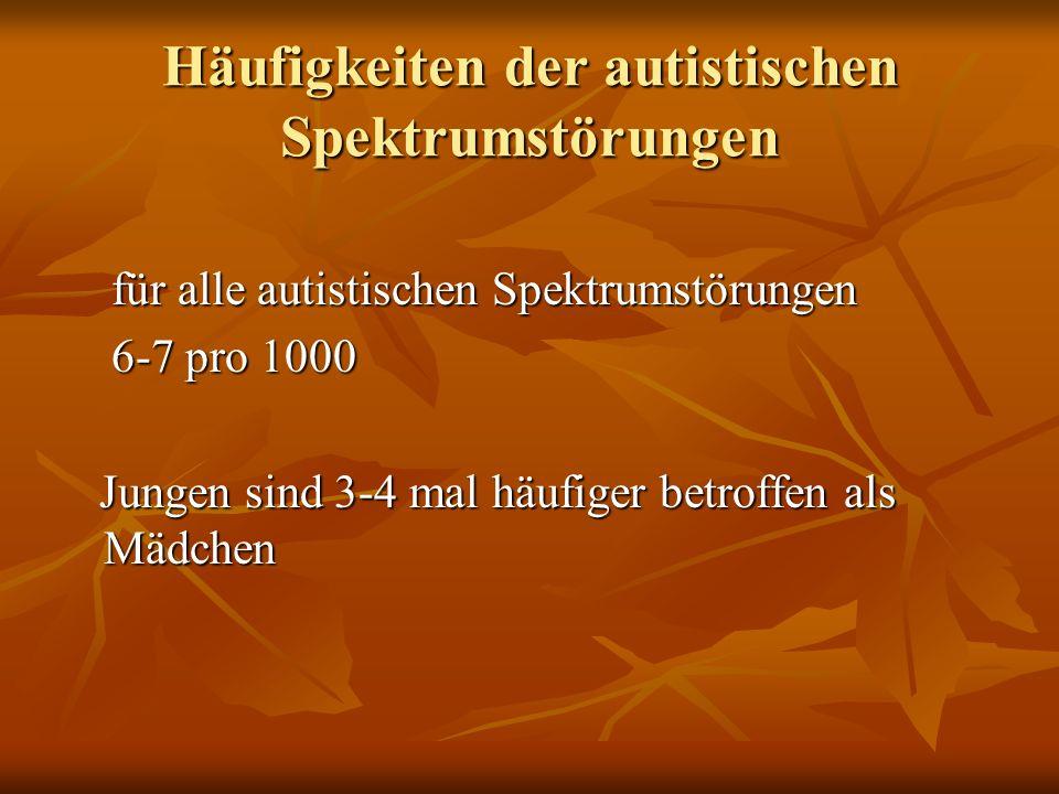 Häufigkeiten der autistischen Spektrumstörungen für alle autistischen Spektrumstörungen für alle autistischen Spektrumstörungen 6-7 pro 1000 6-7 pro 1