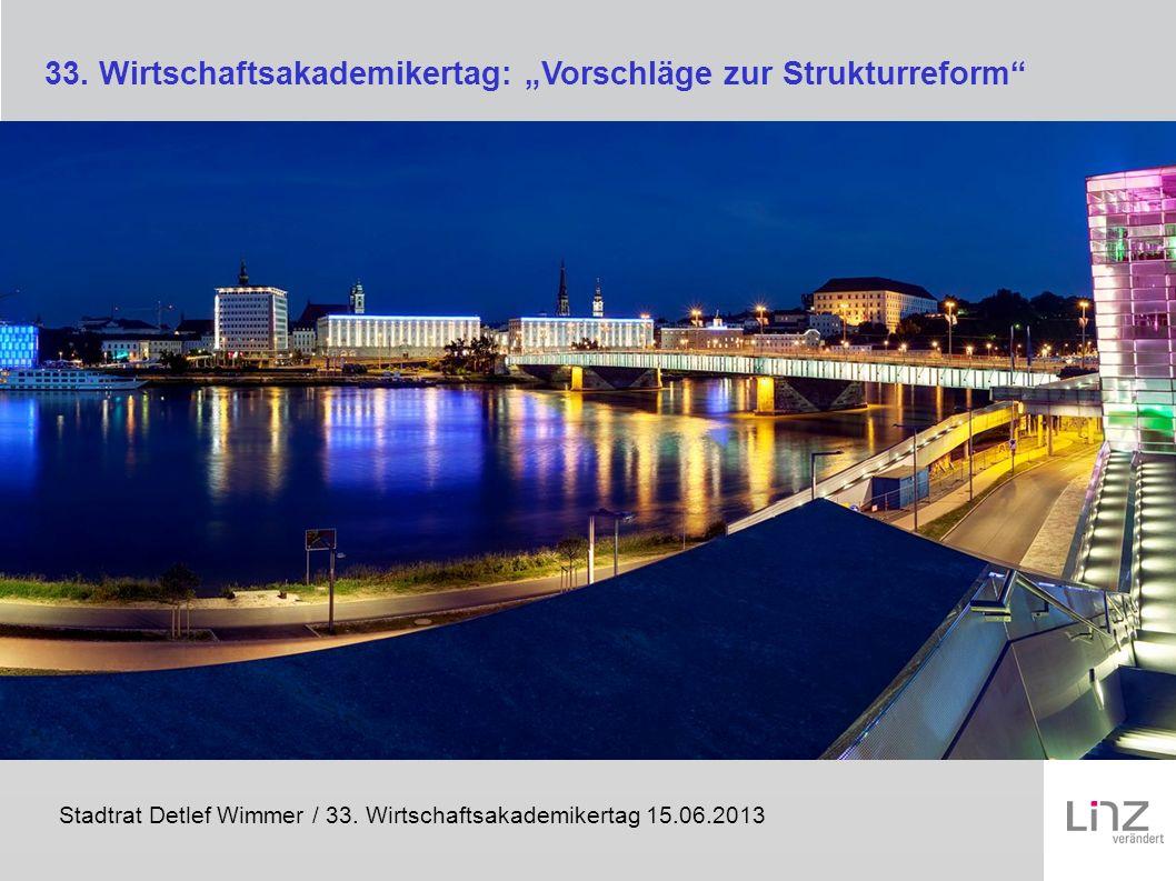 Stadtrat Detlef Wimmer / 33. Wirtschaftsakademikertag 15.06.2013 33. Wirtschaftsakademikertag: Vorschläge zur Strukturreform