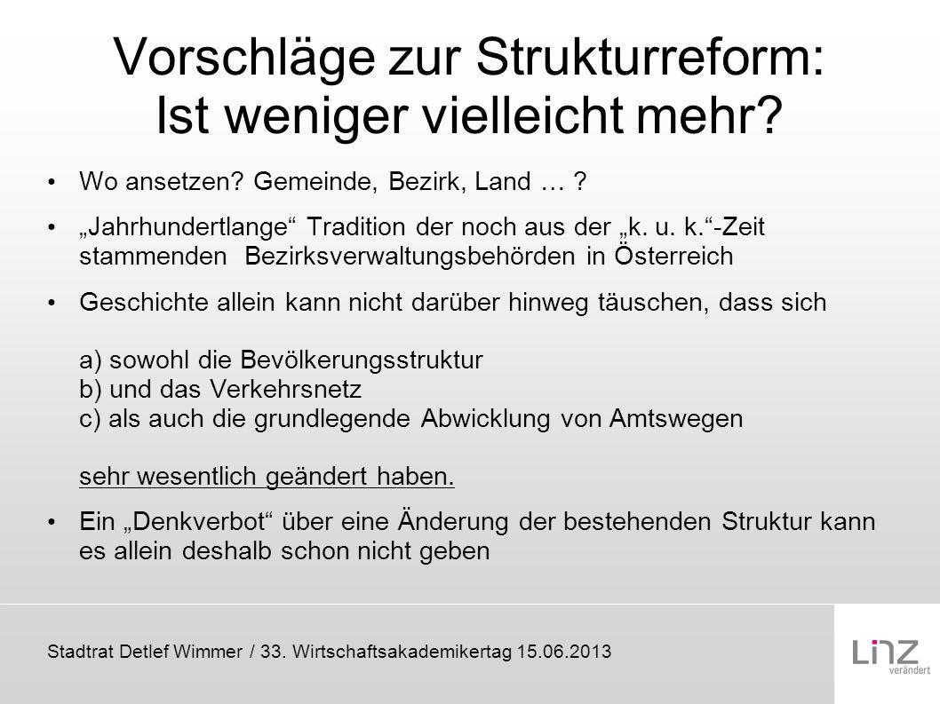 Stadtrat Detlef Wimmer / 33. Wirtschaftsakademikertag 15.06.2013 Vorschläge zur Strukturreform: Ist weniger vielleicht mehr? Wo ansetzen? Gemeinde, Be