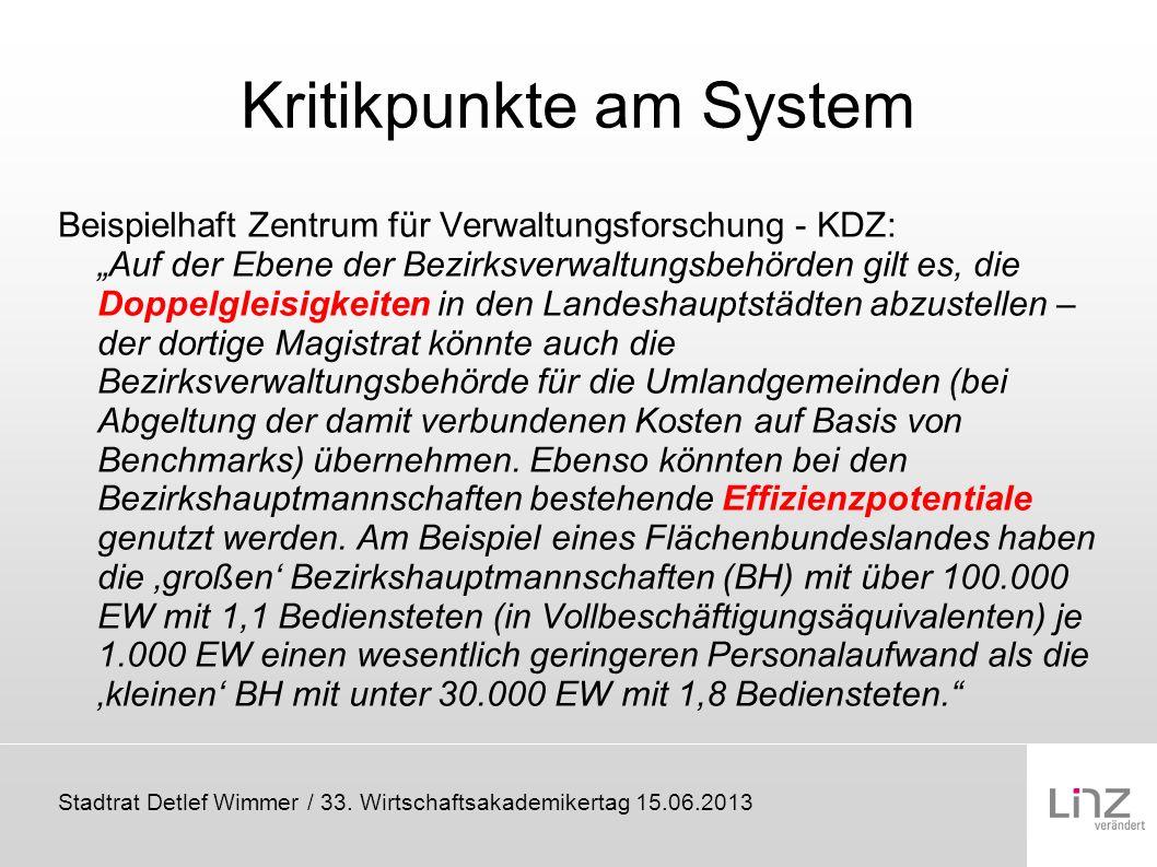 Stadtrat Detlef Wimmer / 33. Wirtschaftsakademikertag 15.06.2013 Kritikpunkte am System Beispielhaft Zentrum für Verwaltungsforschung - KDZ: Auf der E