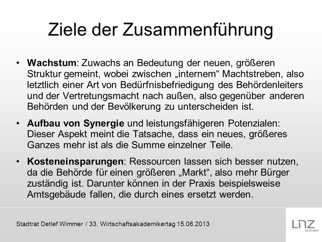 Stadtrat Detlef Wimmer / 33. Wirtschaftsakademikertag 15.06.2013 Ziele der Zusammenführung Wachstum: Zuwachs an Bedeutung der neuen, größeren Struktur