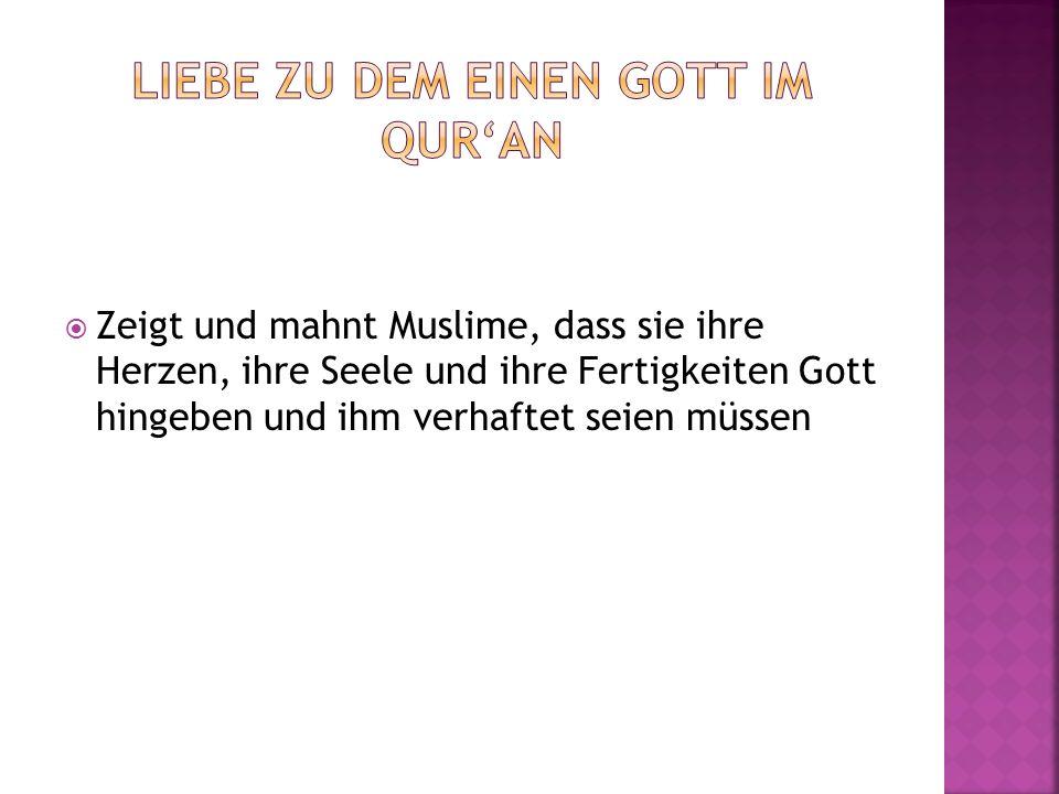 Zeigt und mahnt Muslime, dass sie ihre Herzen, ihre Seele und ihre Fertigkeiten Gott hingeben und ihm verhaftet seien müssen