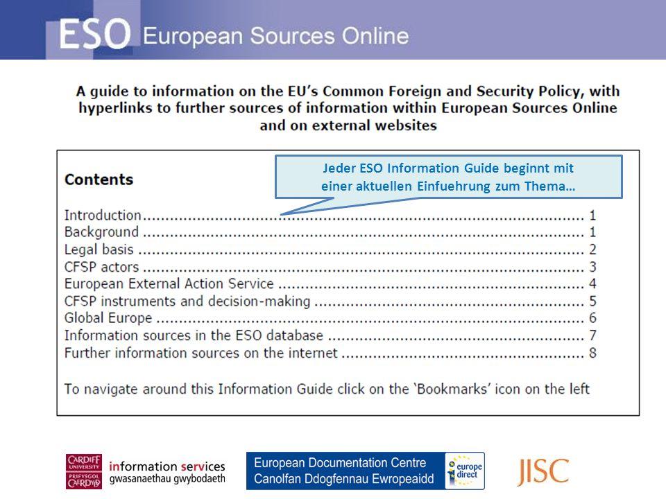 Jeder ESO Information Guide beginnt mit einer aktuellen Einfuehrung zum Thema…