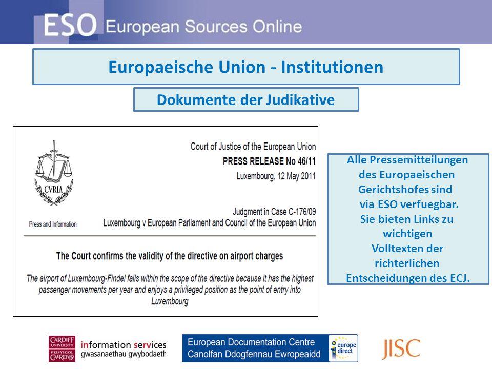 ESO Information Guides Einzigartige und immer aktuelle Einfuehrungen zu den Institutionen und zur Politik der EU, mit Links fuer weitere Informationen
