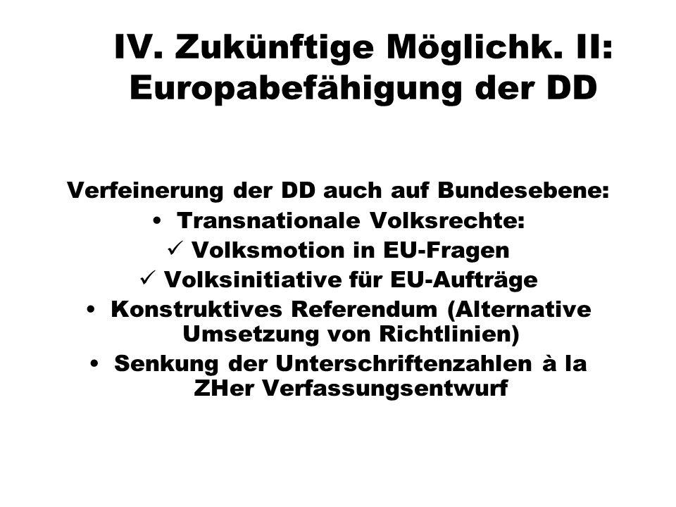 IV. Zukünftige Möglichk. II: Europabefähigung der DD Verfeinerung der DD auch auf Bundesebene: Transnationale Volksrechte: Volksmotion in EU-Fragen Vo