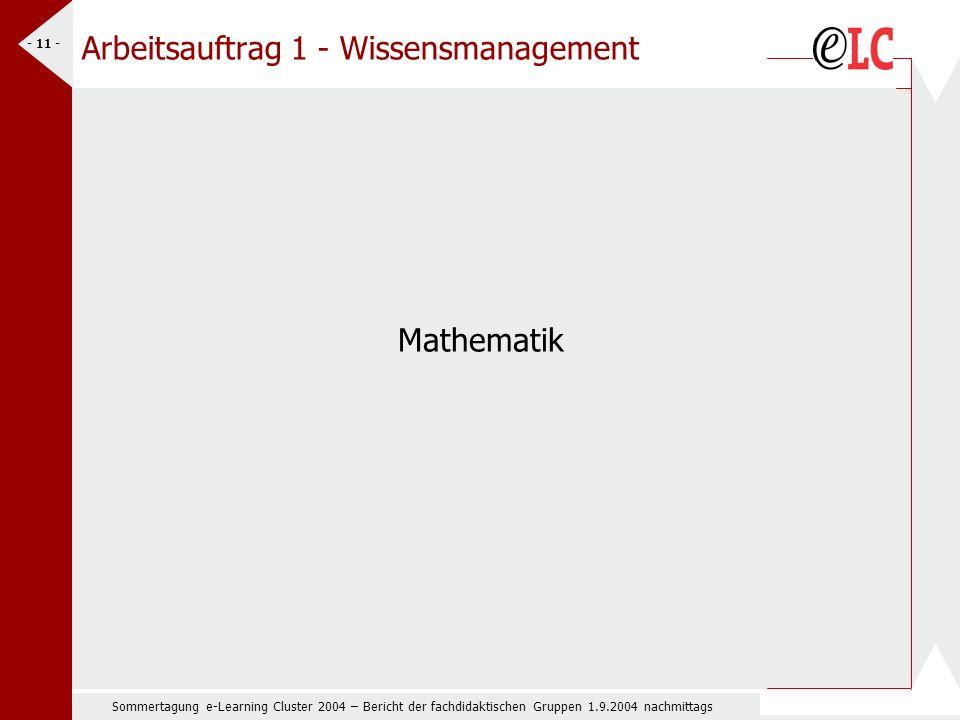 Sommertagung e-Learning Cluster 2004 – Bericht der fachdidaktischen Gruppen 1.9.2004 nachmittags - 11 - Arbeitsauftrag 1 - Wissensmanagement Mathematik
