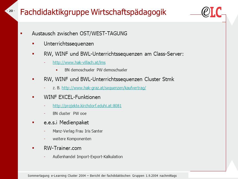 Sommertagung e-Learning Cluster 2004 – Bericht der fachdidaktischen Gruppen 1.9.2004 nachmittags - 20 - Fachdidaktikgruppe Wirtschaftspädagogik Austausch zwischen OST/WEST-TAGUNG Unterrichtssequenzen RW, WINF und BWL-Unterrichtssequenzen am Class-Server: -http://www.hak-villach.at/lmshttp://www.hak-villach.at/lms BN demoschueler PW demoschueler RW, WINF und BWL-Unterrichtssequenzen Cluster Stmk -z.