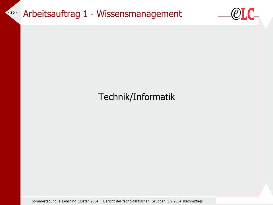 Sommertagung e-Learning Cluster 2004 – Bericht der fachdidaktischen Gruppen 1.9.2004 nachmittags - 26 - Arbeitsauftrag 1 - Wissensmanagement Technik/Informatik