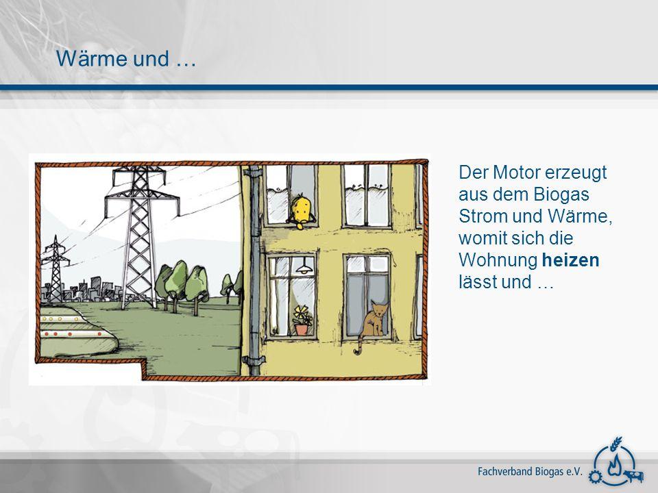Der Motor erzeugt aus dem Biogas Strom und Wärme, womit sich die Wohnung heizen lässt und … Wärme und …
