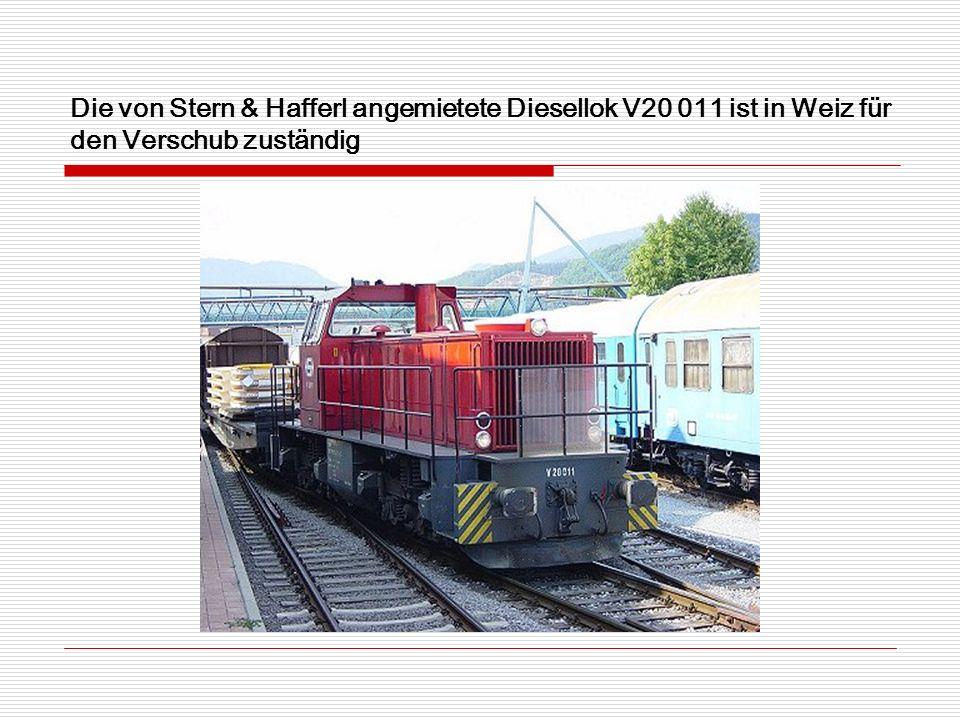 Die von Stern & Hafferl angemietete Diesellok V20 011 ist in Weiz für den Verschub zuständig