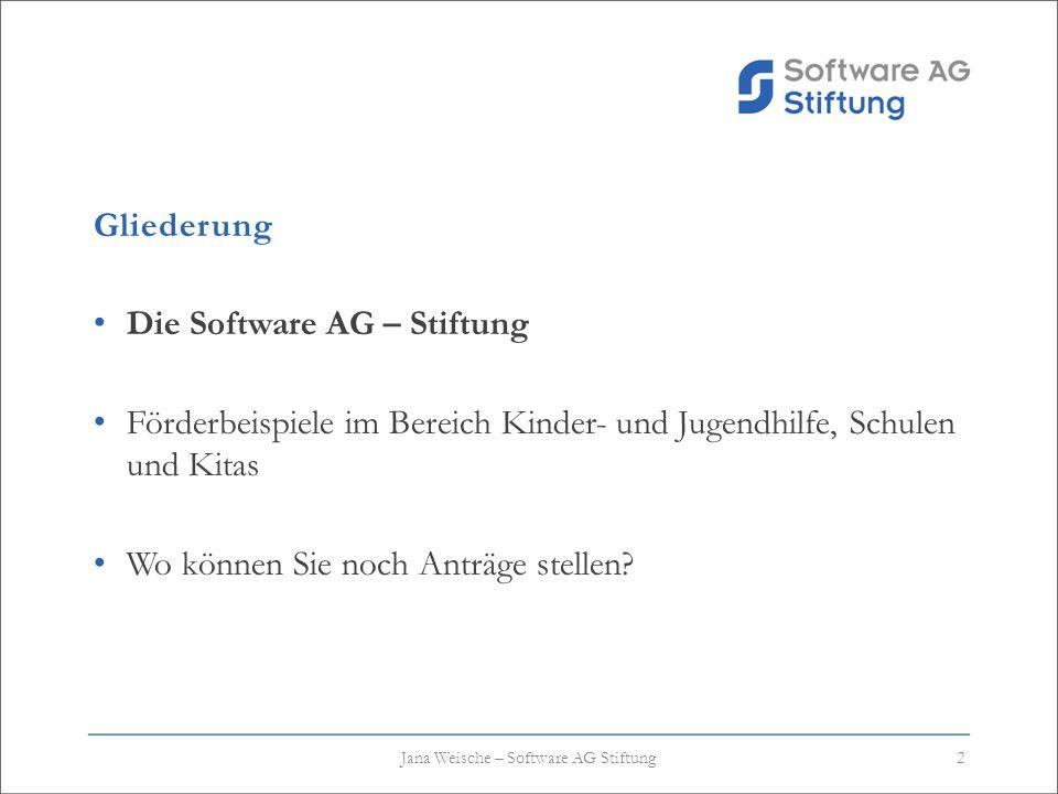 Gliederung Die Software AG – Stiftung Förderbeispiele im Bereich Kinder- und Jugendhilfe, Schulen und Kitas Wo können Sie noch Anträge stellen? 2Jana