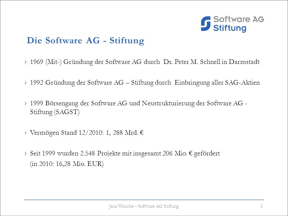 Die Software AG - Stiftung 1969 (Mit-) Gründung der Software AG durch Dr. Peter M. Schnell in Darmstadt 1992 Gründung der Software AG – Stiftung durch