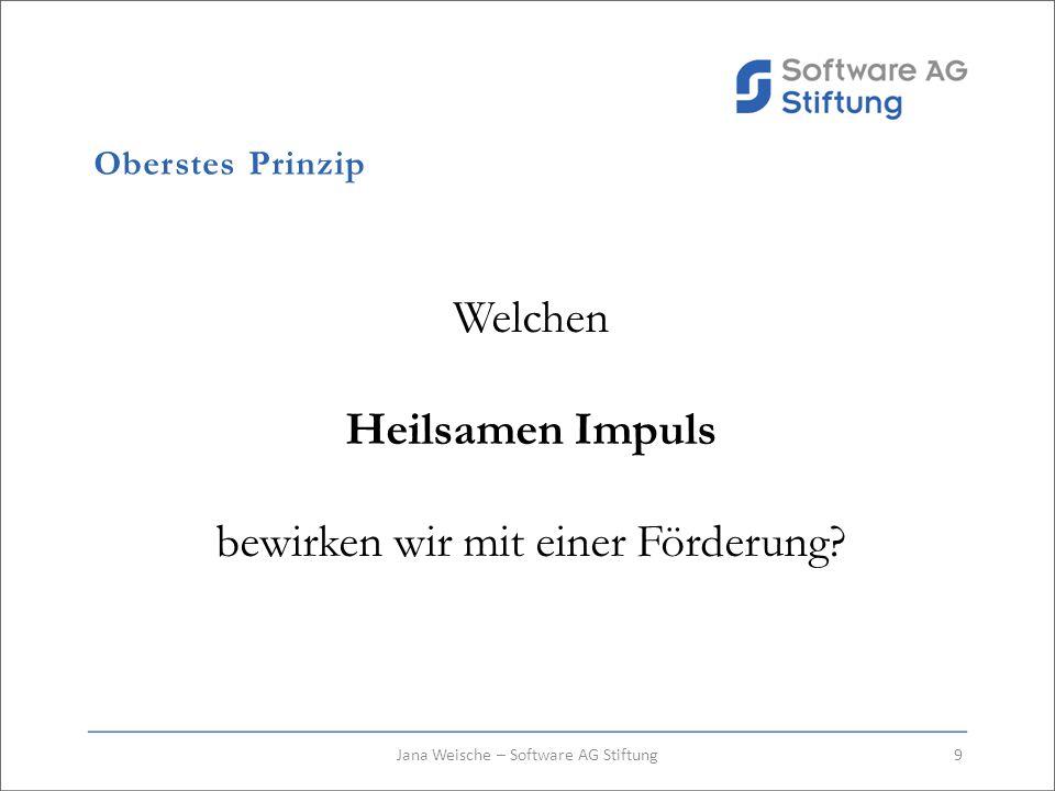 Oberstes Prinzip Welchen Heilsamen Impuls bewirken wir mit einer Förderung? 9Jana Weische – Software AG Stiftung