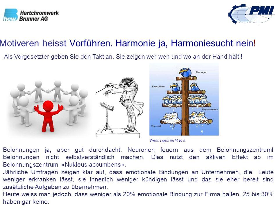 Motiveren heisst Vorführen. Harmonie ja, Harmoniesucht nein! Als Vorgesetzter geben Sie den Takt an. Sie zeigen wer wen und wo an der Hand hält ! Belo