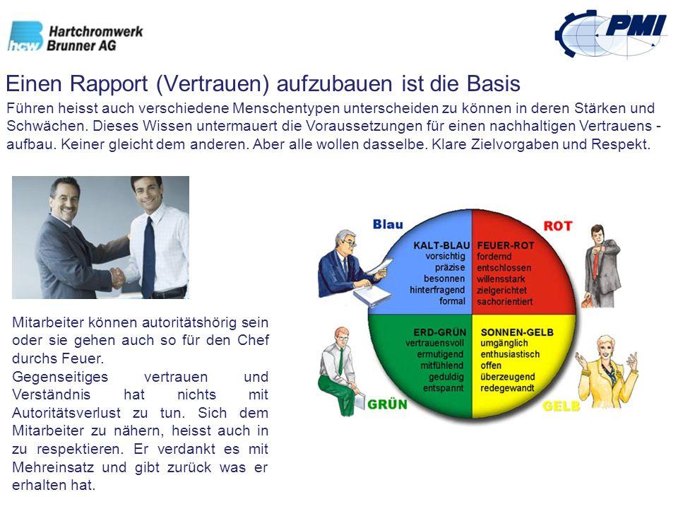 Einen Rapport (Vertrauen) aufzubauen ist die Basis Führen heisst auch verschiedene Menschentypen unterscheiden zu können in deren Stärken und Schwäche