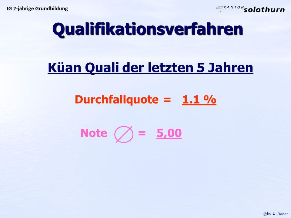 Küan Quali der letzten 5 Jahren Durchfallquote = 1.1 % Note = 5,00 ©by A.