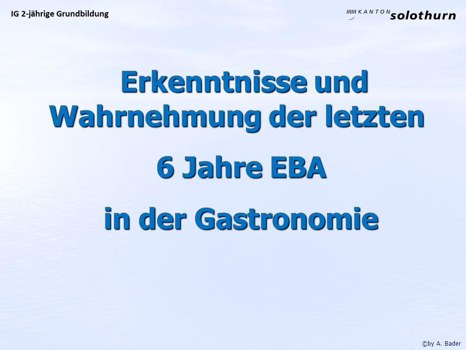 Erkenntnisse und Wahrnehmung der letzten Erkenntnisse und Wahrnehmung der letzten 6 Jahre EBA 6 Jahre EBA in der Gastronomie in der Gastronomie ©by A.