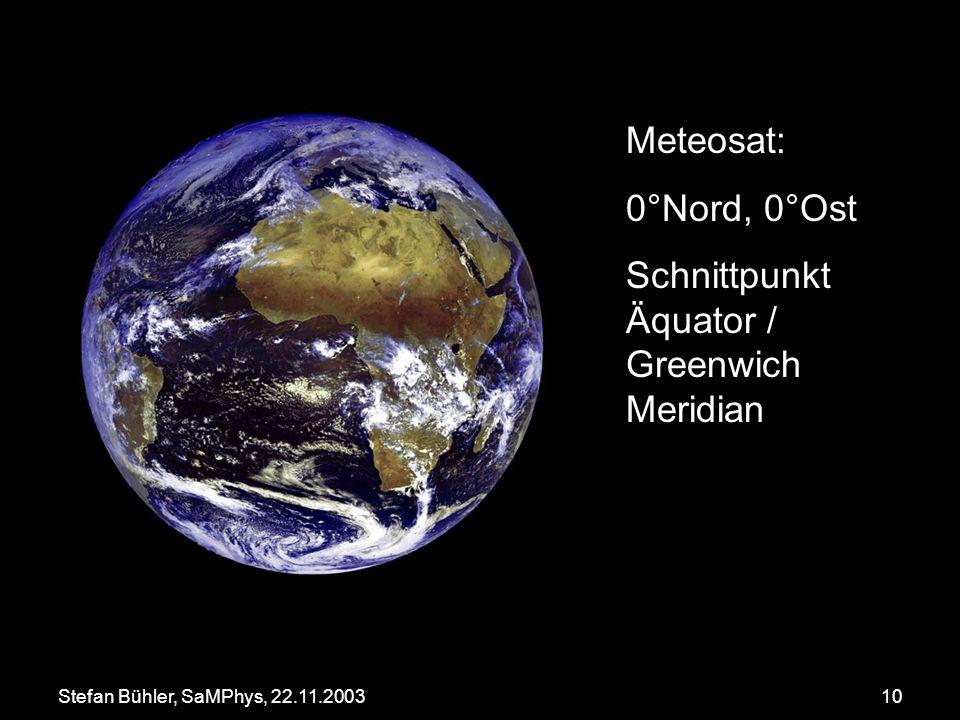 Stefan Bühler, SaMPhys, 22.11.200310 Meteosat: 0°Nord, 0°Ost Schnittpunkt Äquator / Greenwich Meridian