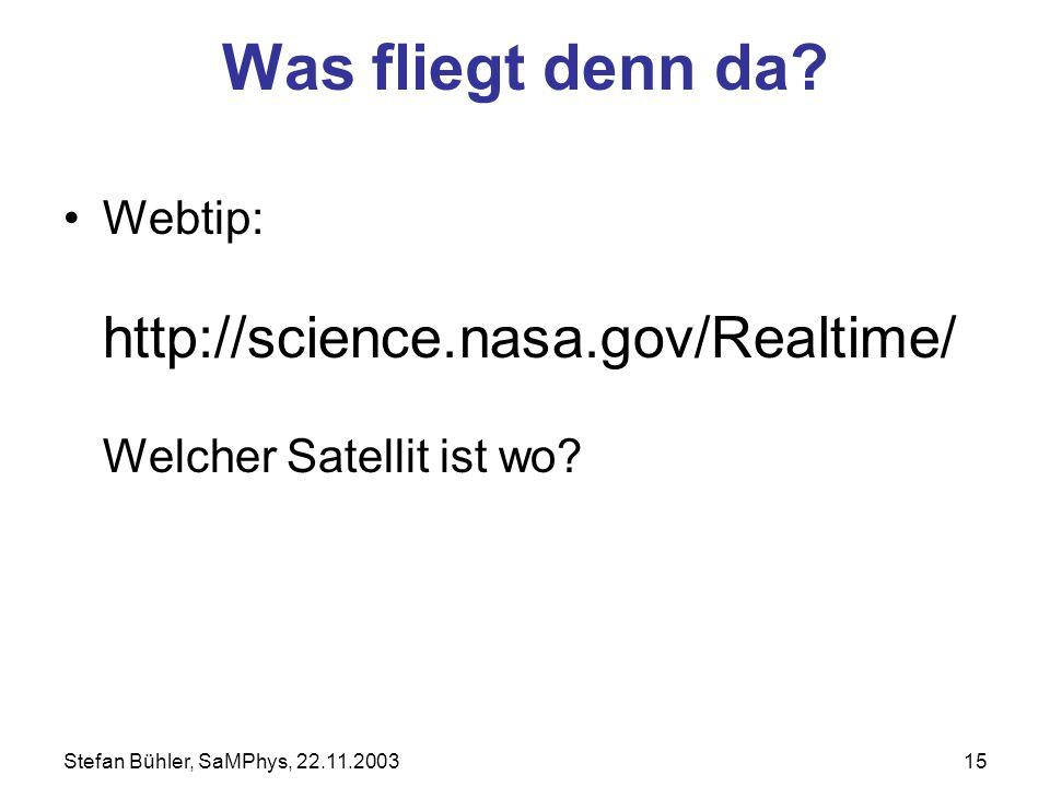 Stefan Bühler, SaMPhys, 22.11.200315 Was fliegt denn da? Webtip: http://science.nasa.gov/Realtime/ Welcher Satellit ist wo?