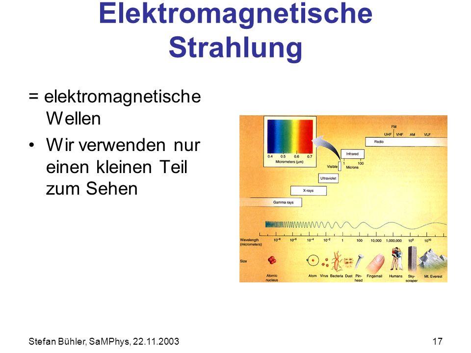 Stefan Bühler, SaMPhys, 22.11.200317 Elektromagnetische Strahlung = elektromagnetische Wellen Wir verwenden nur einen kleinen Teil zum Sehen