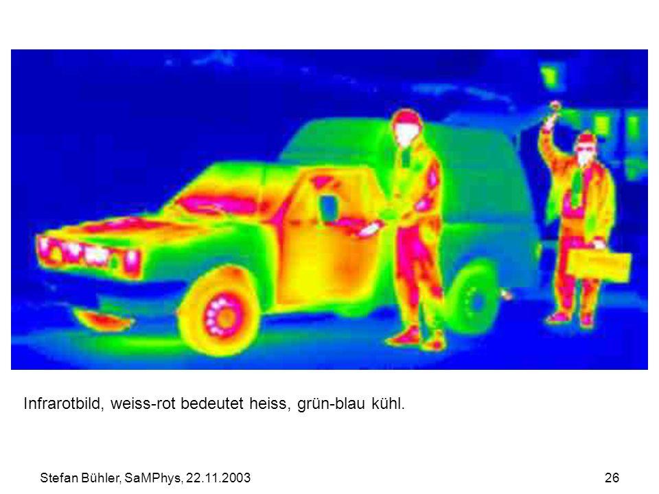 Stefan Bühler, SaMPhys, 22.11.200326 Infrarotbild, weiss-rot bedeutet heiss, grün-blau kühl.