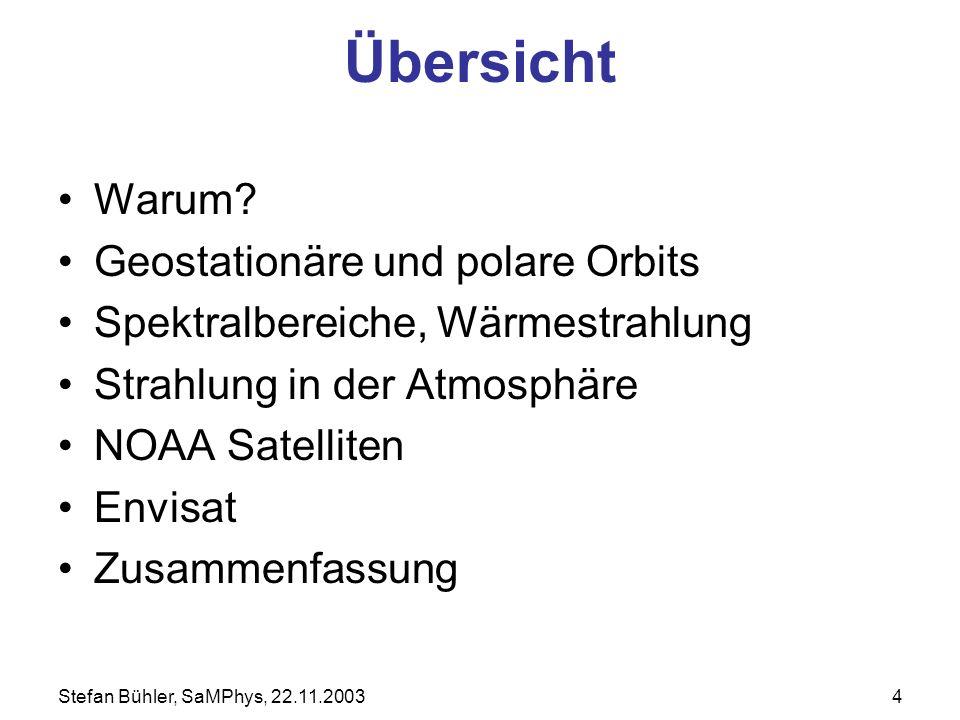 Stefan Bühler, SaMPhys, 22.11.20034 Übersicht Warum? Geostationäre und polare Orbits Spektralbereiche, Wärmestrahlung Strahlung in der Atmosphäre NOAA