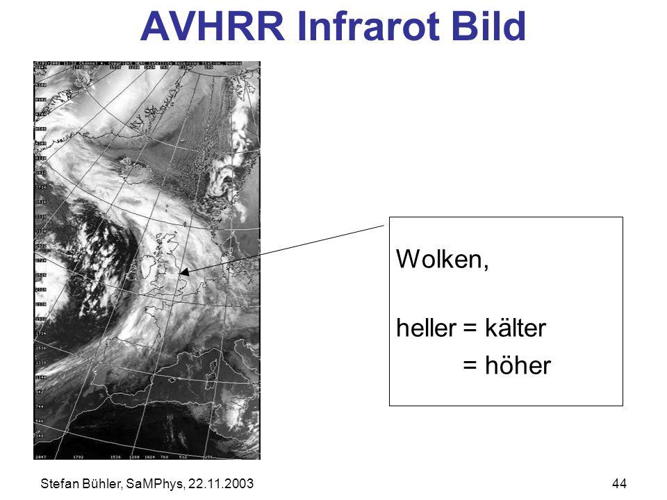 Stefan Bühler, SaMPhys, 22.11.200344 AVHRR Infrarot Bild Wolken, heller= kälter = höher