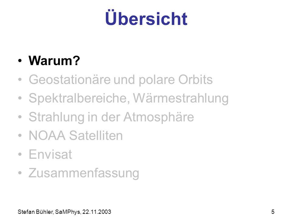 Stefan Bühler, SaMPhys, 22.11.20035 Übersicht Warum? Geostationäre und polare Orbits Spektralbereiche, Wärmestrahlung Strahlung in der Atmosphäre NOAA