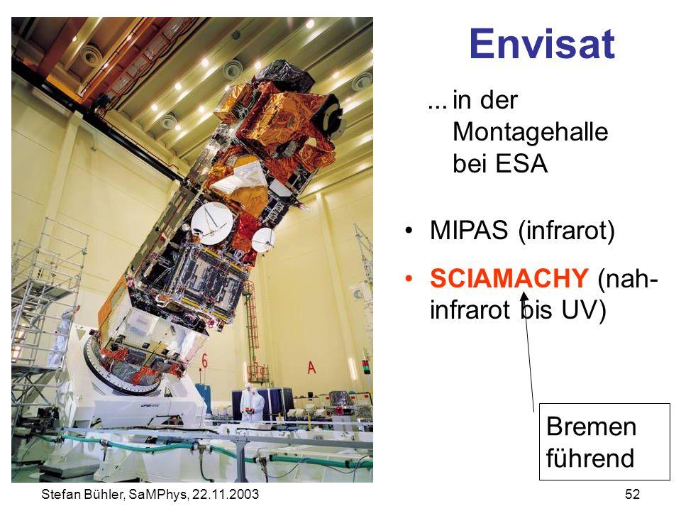 Stefan Bühler, SaMPhys, 22.11.200352 Envisat...in der Montagehalle bei ESA MIPAS (infrarot) SCIAMACHY (nah- infrarot bis UV) Bremen führend