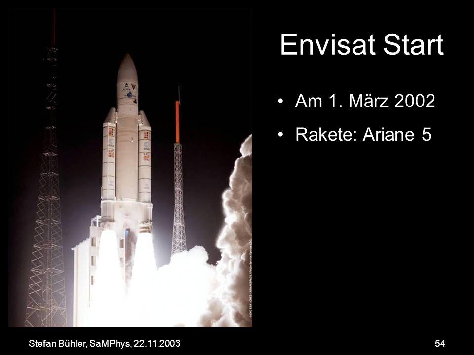 Stefan Bühler, SaMPhys, 22.11.200354 Envisat Start Am 1. März 2002 Rakete: Ariane 5