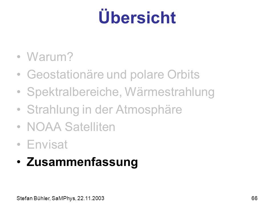 Stefan Bühler, SaMPhys, 22.11.200366 Übersicht Warum? Geostationäre und polare Orbits Spektralbereiche, Wärmestrahlung Strahlung in der Atmosphäre NOA