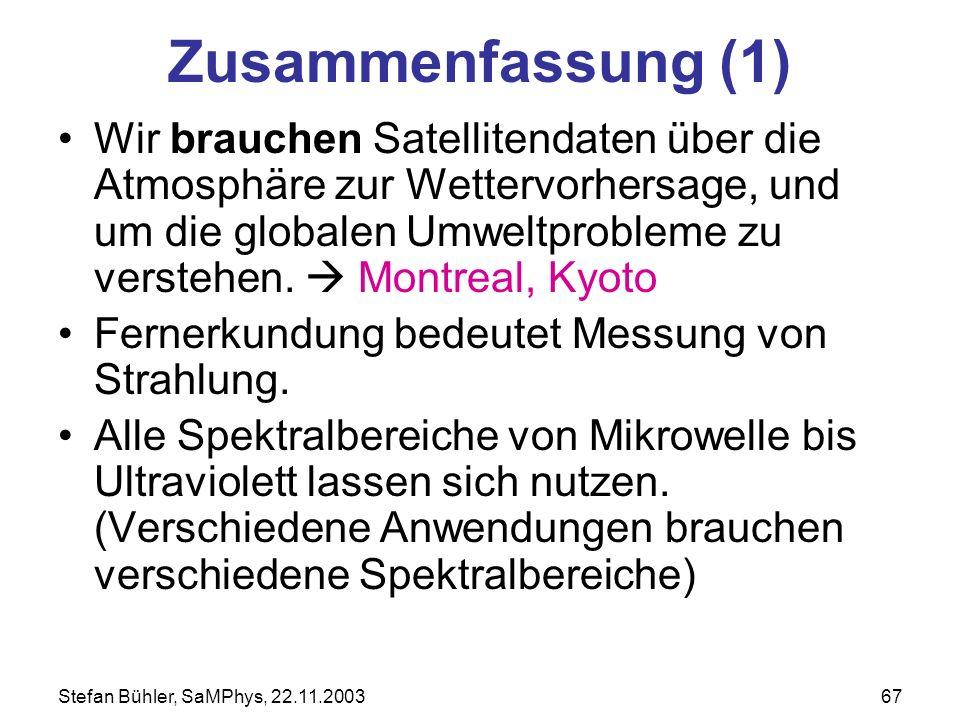 Stefan Bühler, SaMPhys, 22.11.200367 Zusammenfassung (1) Wir brauchen Satellitendaten über die Atmosphäre zur Wettervorhersage, und um die globalen Um