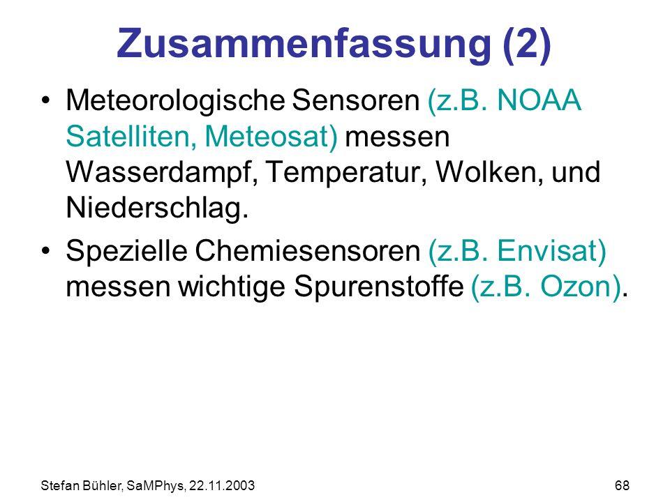 Stefan Bühler, SaMPhys, 22.11.200368 Zusammenfassung (2) Meteorologische Sensoren (z.B. NOAA Satelliten, Meteosat) messen Wasserdampf, Temperatur, Wol