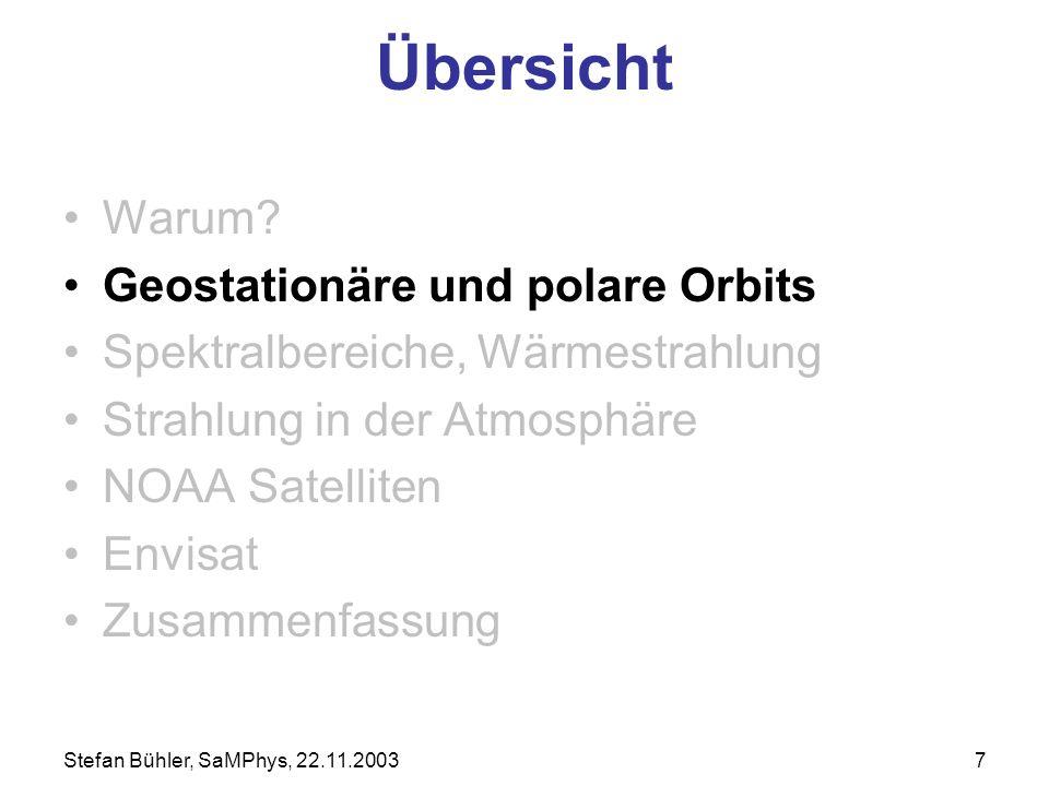 Stefan Bühler, SaMPhys, 22.11.20037 Übersicht Warum? Geostationäre und polare Orbits Spektralbereiche, Wärmestrahlung Strahlung in der Atmosphäre NOAA