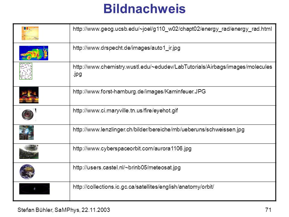 Stefan Bühler, SaMPhys, 22.11.200371 http://www.geog.ucsb.edu/~joel/g110_w02/chapt02/energy_rad/energy_rad.html http://www.drspecht.de/images/auto1_ir