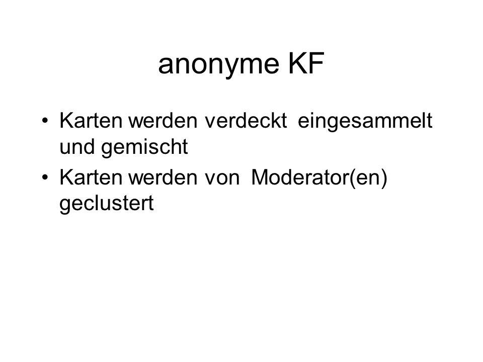 anonyme KF Karten werden verdeckt eingesammelt und gemischt Karten werden von Moderator(en) geclustert